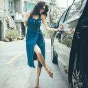 レディース デニム ジャンパースカート ミモレ丈 スリット ジーンズ オールインワン ショートパンツ 短パン 五分袖 ボトムス カジュアル 大人女子 キュート 可愛い フェミニン おしゃれ お出かけ デイリー ブルー S M L XL サイズ 送料無料