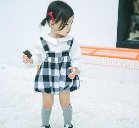 キッズ サロペット パンツ ギンガムチェック ドット 水玉 ストライプ ボトムス 女の子 可愛い キュート 子供 ジュニア 子供服 カジュアル ブラック 黒 66 73 80 90 cm サイズ 送料無料
