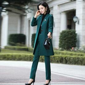 レディース 3点セット ノーカラージャケット + ブラウス + パンツ カジュアル フォーマル キュート 可愛い フェミニン きれいめ 上品 エレガント おしゃれ お出かけ オフィス お呼ばれ グリーン ブラック 緑 黒 大きいサイズ 送料無料