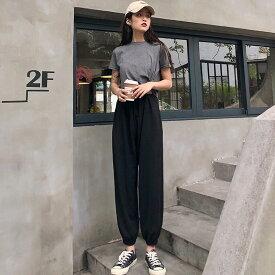 レディース 半袖Tシャツ ジョガーパンツ スウェットパンツ セットアップ カジュアル キュート 可愛い フェミニン きれいめ 上品 エレガント おしゃれ お出かけ オフィス お呼ばれ グレー ブラック フリーサイズ 送料無料