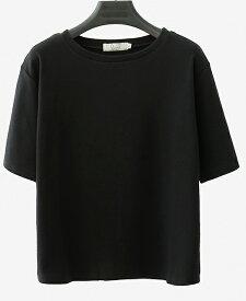 レディース 大きいサイズ Tシャツ 無地 半袖 ショートスリーブ 夏 春 トップス カジュアル キュート 大人 可愛い フェミニン おしゃれ お出かけ 普段着 デイリー ブラック ホワイト イエロー ブラウン ベージュ M L XL 2XL 送料無料
