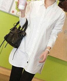 レディース シャツ 春 長袖 ボタンダウンシャツ   カジュアル フリーサイズ 白 ロングYシャツ ダーリンシャツ ゆるシャツ 送料無料  春物