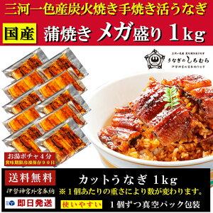 【国産 手焼き 炭火焼】カットうなぎ(1パック35g〜55g)1kgメガ盛り 愛知県 三河 一色町 青空 満点 レストラン