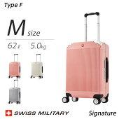 スイスミリタリーシグネイチャーMサイズスーツケース軽量TypeFSignatureアルミフレームタイプTSAロック一年保証(24インチ/62L/5.0kg)