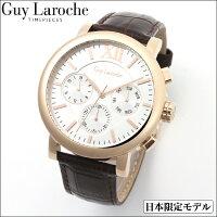 GuyLarocheギ・ラロッシュ日本限定マルチファンクションレザーウォッチローズ
