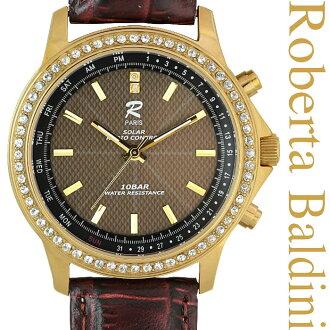 蘿勃塔巴爾迪尼珠寶太陽射電看黃金 RB001 G 手錶太陽能收音機太陽能充電金剛石防水日曆在日本牛皮皮革帶不銹鋼黃金黃金禮品禮物禮物太陽射電手錶作父親節禮物禮品 P01Jul16。
