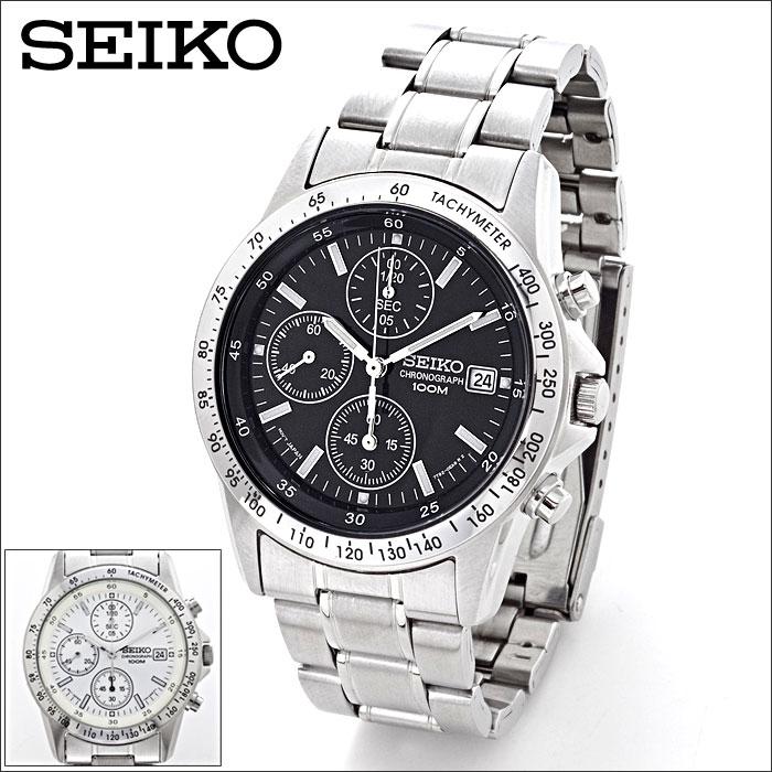 【送料無料】腕時計 メンズ SEIKO セイコー クロノグラフ 海外モデル メンズウォッチ ステンレス ベルト アナログ 防水 時計 うでとけい ブランド ブラック ホワイト 白 黒 敬老の日 ギフト プレゼント 専用化粧箱入り