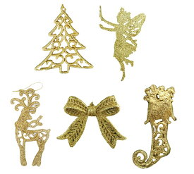 S3 ラグジュアリー プレミアム ゴールド 黄金 金 豪華 珍しい シルエット クリスマス オーナメント 5個 ヨーロピアン タイプ クリスマスツリー 飾り 装飾 アンティーク オシャレ シャビー cosmic eve