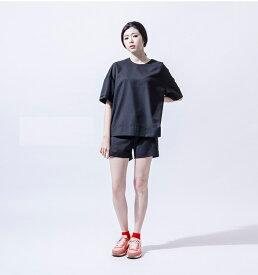 黒 ブラック シンプル 高品質Tシャツ レディースファッション アジア台湾 ナイロン台湾 ファッション レディース 東京 原宿 io-003