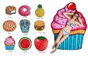 【スイーツ ビーチマット タオル スウィーツ ハンバーガー スカル イチゴ ピザ ケーキ クッキー ビーチタオル プール …
