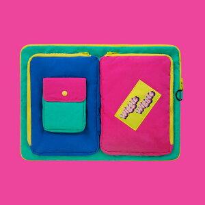 Pocket Laptop Pouch - Green ノートパソコン ケース ポーチ サイズ PCケース 15インチ 可愛い おすすめ かわいい 韓国雑貨 人気パソコンケース 生活防水
