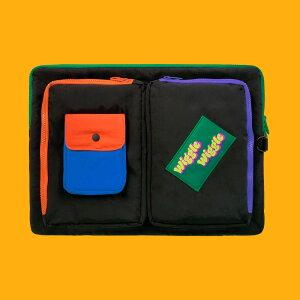 Pocket Laptop Pouch - Black ノートパソコン ケース ポーチ サイズ PCケース 15インチ 可愛い おすすめ かわいい 韓国雑貨 人気パソコンケース 生活防水