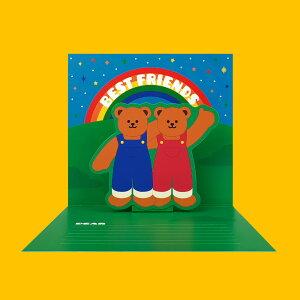 Pop-Up Card - Best Friends ポップアップ カード お誕生日 プレゼント 可愛い おしゃれ おすすめ ユニーク テディーベア グリーティングカード