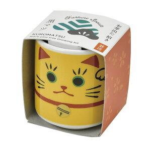 お芽でたおちょこ 招き猫 黄 黒松栽培セット 聖新陶芸 観葉植物 インテリア雑貨 ギフト ガーデニング