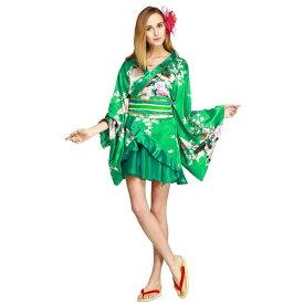 着物ドレスミニ ドリームデート エメラルドグリーン KIMONODRESS TOKYO WISH Dream Date Emerald Green おいらん・芸者・舞妓 着物ドレス 花魁 芸者 おいらん