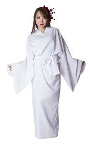 花鳥風月 着物 無地白 コスチューム 和柄 コスプレ 変身 和風 プチプラ 仮装 レディース