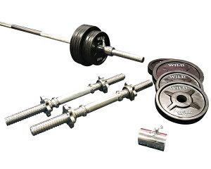 [WILD FIT ワイルドフィット] 黒ラバーバーベルダンベルセット 30kg【送料無料】 筋トレ ダンベル バーベル ウエイト トレーニング ベンチプレス フィットネス