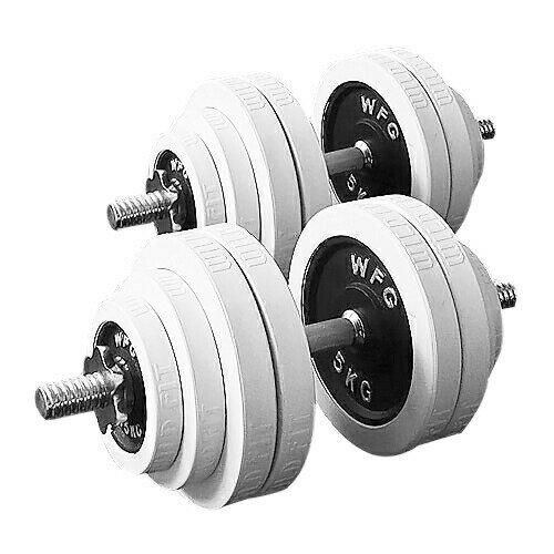 白ラバーダンベルセット60kg[WILD FIT ワイルドフィット] 送料無料・筋トレ・ダンベル・ウエイト・トレーニング・鉄アレイ