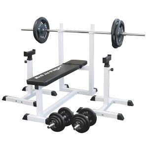 《パッドプレゼント中》トレーニングジムセット アイアン 100kg[WILD FIT ワイルドフィット] 送料無料 バーベル ダンベル ベンチプレス トレーニング器具 自宅 大胸筋 腹筋 上腕筋