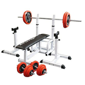 Folding gym set red rubber 100 kg [WILD FIT Wilde fitting] barbell dumbbell  bench press training appliance pectoralis major muscle abdominal muscle