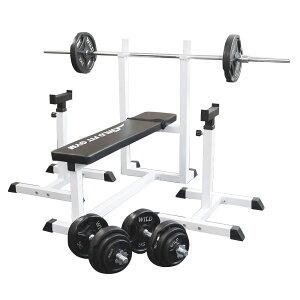 《パッドプレゼント中》トレーニングジムセット 黒ラバー 70kg[WILD FIT ワイルドフィット] 送料無料 バーベル ダンベル ベンチプレス トレーニング器具 自宅 大胸筋 腹筋 上腕筋