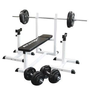 《パッドプレゼント中》トレーニングジムセット 黒ラバー 100kg[WILD FIT ワイルドフィット] 送料無料 バーベル ダンベル ベンチプレス トレーニング器具 自宅 大胸筋 腹筋 上腕筋
