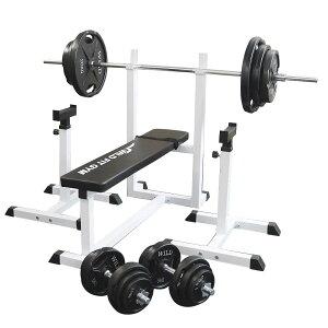 《パッドプレゼント中》トレーニングジムセット 黒ラバー 140kg[WILD FIT ワイルドフィット] 送料無料 バーベル ダンベル ベンチプレス トレーニング器具 自宅 大胸筋