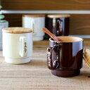 キャニスター 塩 砂糖 容器 マグキャニスター 陶器 木製蓋 スプーン ソルト シュガー ストッカー キッチン用品 キッチン雑貨 調味料容…