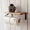 トイレットペーパーホルダー 2連 おしゃれ ペーパーホルダー トイレ 棚付き アイアン 木製 マンゴーウッド ダブル アンティーク ナチュ…