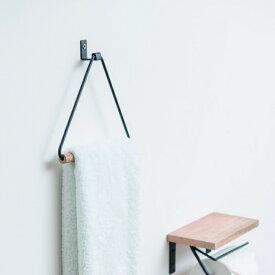 タオルハンガー おしゃれ タオル掛け 壁 トイレ 洗面所 キッチン アイアン 木 三角形
