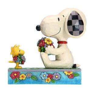 スヌーピー ウッドストック 花束 ブーケ 11.4cm | スヌーピー フィギュア 大人向け 人形 置物 ジムショア グッズ Snoopy/Woodstock with Flowers ジム・ショア ピーナッツ JIM SHORE PEANUTS 正規輸入品