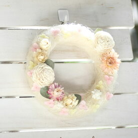 Qururiルームリース アルバ 直径17cm   リース お花ギフト ドライフラワー プリザーブドフラワー 室内用 Alba