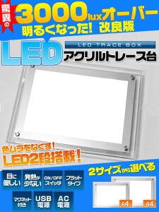 【送料無料】LEDトレース台 A4サイズ(ライトボックス)目に優しいのに照度3000luxオーバーを実現! USBでもコンセントでも使用可能!目にもお財布にも優しいLEDライトタイプ/ポジフィルムの確
