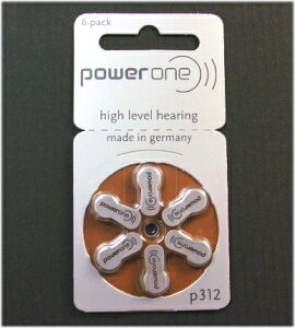 補聴器電池 PR41(P312) 6個セット ドイツPowerOne製/補聴器用空気電池・補聴器用電池/パワーワン