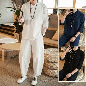メンズ セットアップ 半袖Tシャツ&シパンツ2点セット 綿麻リネン素材 無地 トレーナー サルエルパンツ 九分丈 無地 通気 ルームウェア
