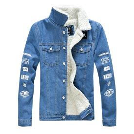 メンズ デニムジャケット 裏ボア バイクジャケット ジージャン 裏起毛 細身 厚手 ウォッシュ ユーズド 冬