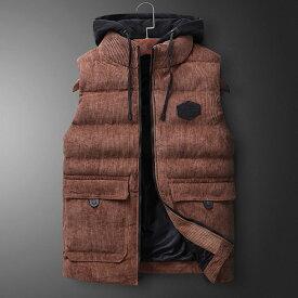 中綿ベスト メンズ ダウンベスト アウター スウェット フード付き 軽量 カジュアル ジャケット 秋冬服