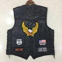 レザーベスト刺繍 メンズイーグルパッチ 本革 オートバイ ベスト レーシング 米国旗 ひも調節可能 シープスキンノース…