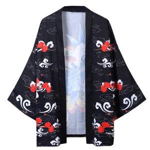 浴衣 甚平 メンズ 鯉柄 ゆったり 開襟 羽織 春夏物 薄手 涼しい 和服風 ルームウェア 部屋着 花火大会