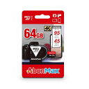 5481 AbonMax MSD-64GB(U3) 【ネコポス送料込】microSDカード 64GB SDXC UHS-3 Class10 5年保証 台湾製 SDアダプタ付