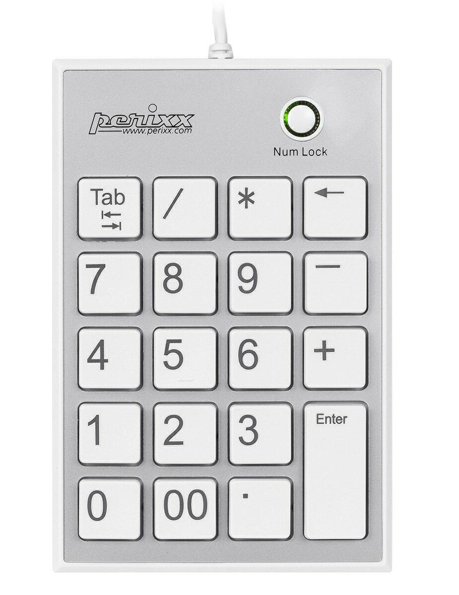 3372_11094 ぺリックス PERIPAD-202HW ノートパソコン用テンキーボード Tabキー付 - USBハブ2個付き 大きく見やすい数字表示 パンタグラフキー採用 ホワイト【正規保証品】(Perixx)
