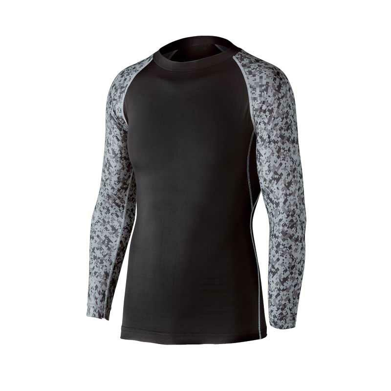 JW-623 冷感消臭パワーストレッチ長袖クルーネックシャツ ブラック×迷彩 Lサイズ