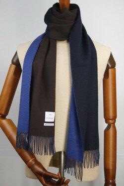 (フェアファクス)FAIRFAXリバーシブル&切り替えのカシミアマフラーブラウン、ネイビーカシミヤ100%メンズマフラー紺色青色茶色(送料無料)
