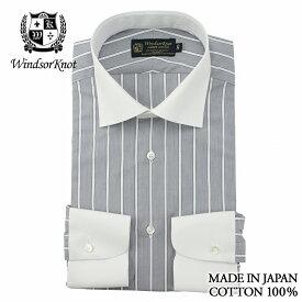 【送料無料】(アルバートアベニュー) Albert Avenue クレリック ワイドカラー ドレスシャツ (細身) 日本製 綿100% ギザコットン|クリスマス メンズ ブランド おすすめ ネクタイ おしゃれ 日本 高級 男性 ワイシャツ Yシャツ
