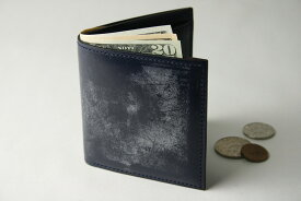 (ファイブウッズ) FIVE WOODS BASICS BRIDLE ベーシックブライドル ミニウォレット 「MINI WALLET」 ネイビー 日本製 ブライドルレザー 本革 メンズ 二つ折ミニ財布 43014( 送料無料 )