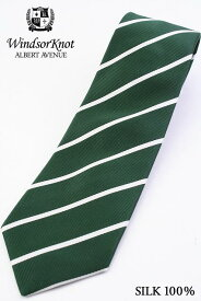 【送料無料】(アルバートアベニュー) Albert Avenue George 暗い緑&オフホワイト プレーンストライプ ネクタイ Green&Frosty |ネクタイ ブランド おしゃれ プレゼント メンズ 男性 ワイシャツ ギフト 高級 かっこいい