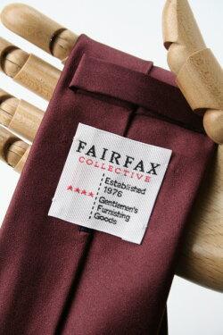 (フェアファクス)FAIRFAXワインカラー系サテン無地ネクタイシルク100%イタリー生地使用ソリッドタイ