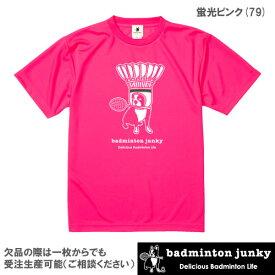 【SALE】バドミントンジャンキー スペースシャトル(Dry TEE)(BDJ18011 蛍光ピンク)[badminton junky ユニセックス]