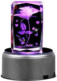 """クリスタルオルゴール """"I love you"""" 七彩ライト 光るバラ 18種類音楽 USB ホタル ミュージックランプスタンド ぜんまい 付き 回転できる シングルサイクル 誕生日  結婚記念日 結婚祝い 卒業祝い バレンタインデープレゼント  クリスタルフラワー"""