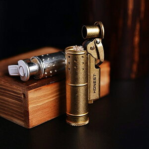 オイルライター 着火石付き レトロ トレンチ ライター 収納ボックス付き プレゼント(オイル無し)